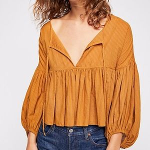 Free People Beaumont Mews Blouse NEW Babydoll Crop